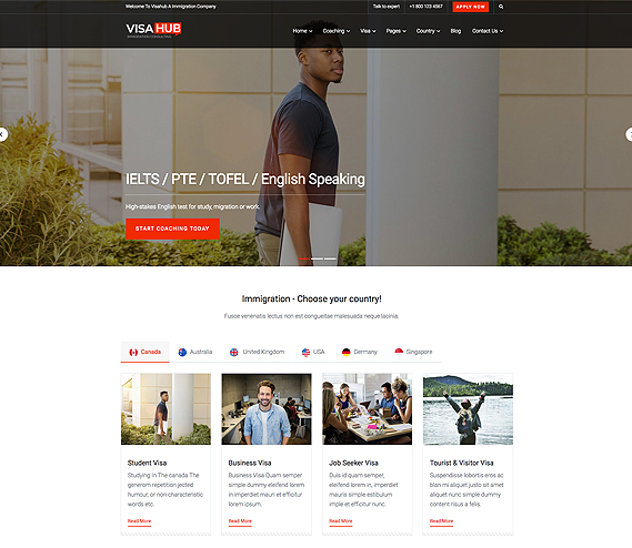 Visahub Immigration Consulting Wordpress Theme
